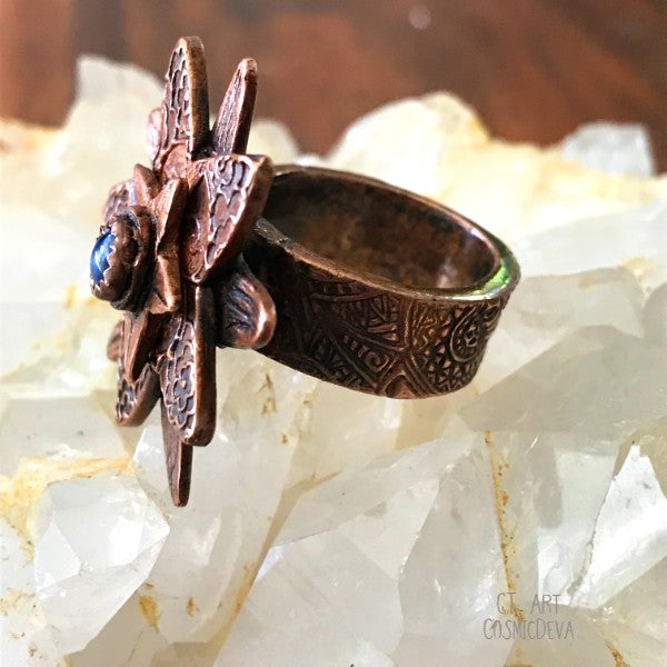 Lapis Lazuli Flower Ring,  Boho Ring, Copper Size 7 Ring - CosmicDeva