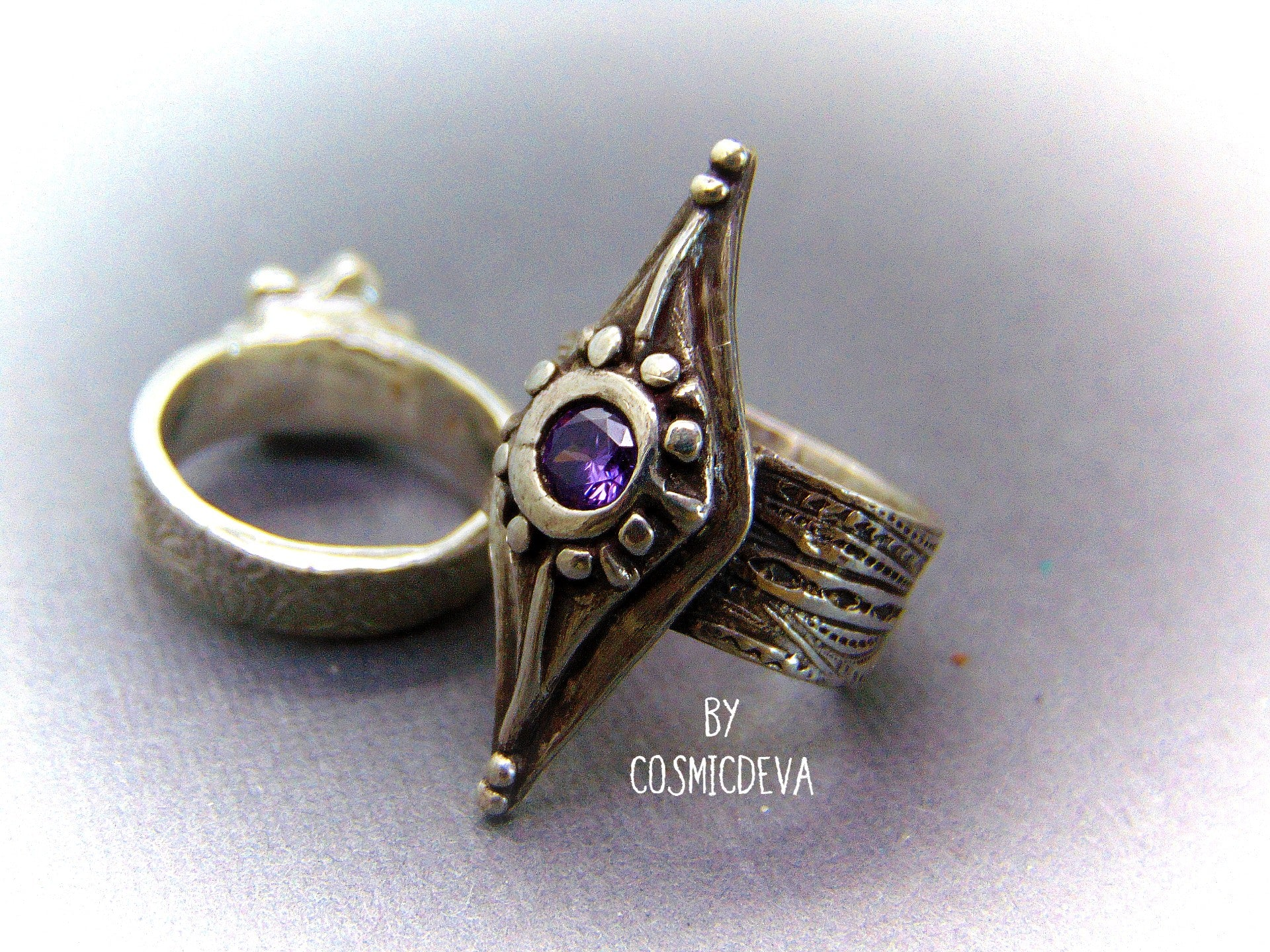 Medieval Wide Band Sterling Silver Shield Ring with Amethyst, Size 8 Ring - CosmicDeva