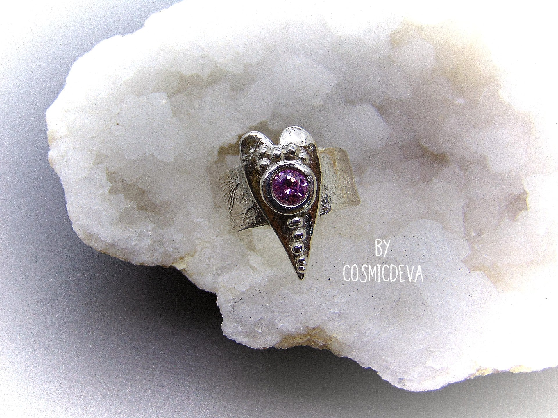 Sterling Silver Heart Ring with Pink CZ Gemstone, Heart Ring, Love Ring, SIZE 8 Engagement Ring - CosmicDeva