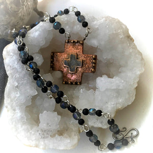 Copper Cross Rosary Necklace, Boho Faith Jewelry - CosmicDeva