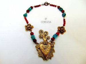 Gold Bronze Milagro Heart  Sacred Heart Necklace Set - CosmicDeva