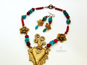 Gold Bronze Milagro Heart  Sacred Heart Necklace Set