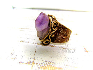 Raw Amethyst Ring , Purple Crystal Statement Gold Bronze Wide Band Ring SIZE US 8 Ring