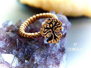 Tree Of Life Dainty Gold Bronze Ring, Tree of life Ring, Tree ring, Skinny Band Stack US 7 Ring - CosmicDeva