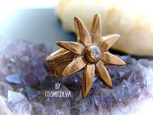 Flower Cocktail Ring, Star Flower Statement Ring, Gold Bronze Ring , SIZE 7 Ring