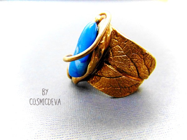 Sage Leaf Ring, Blue Crazy Lace Agate, Gold Bronze Ring, SIZE US 12 Ring