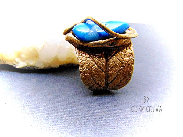 Sage Leaf Ring, Blue Crazy Lace Agate, Gold Bronze Ring, SIZE US 12 Ring - CosmicDeva
