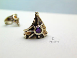 Medieval Shield Triangle Fine Silver Amethyst US size 7 Ring