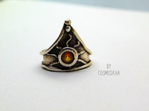 Medieval Triangle Shield Sterling Silver Citrine Size US 7.5 Ring - CosmicDeva