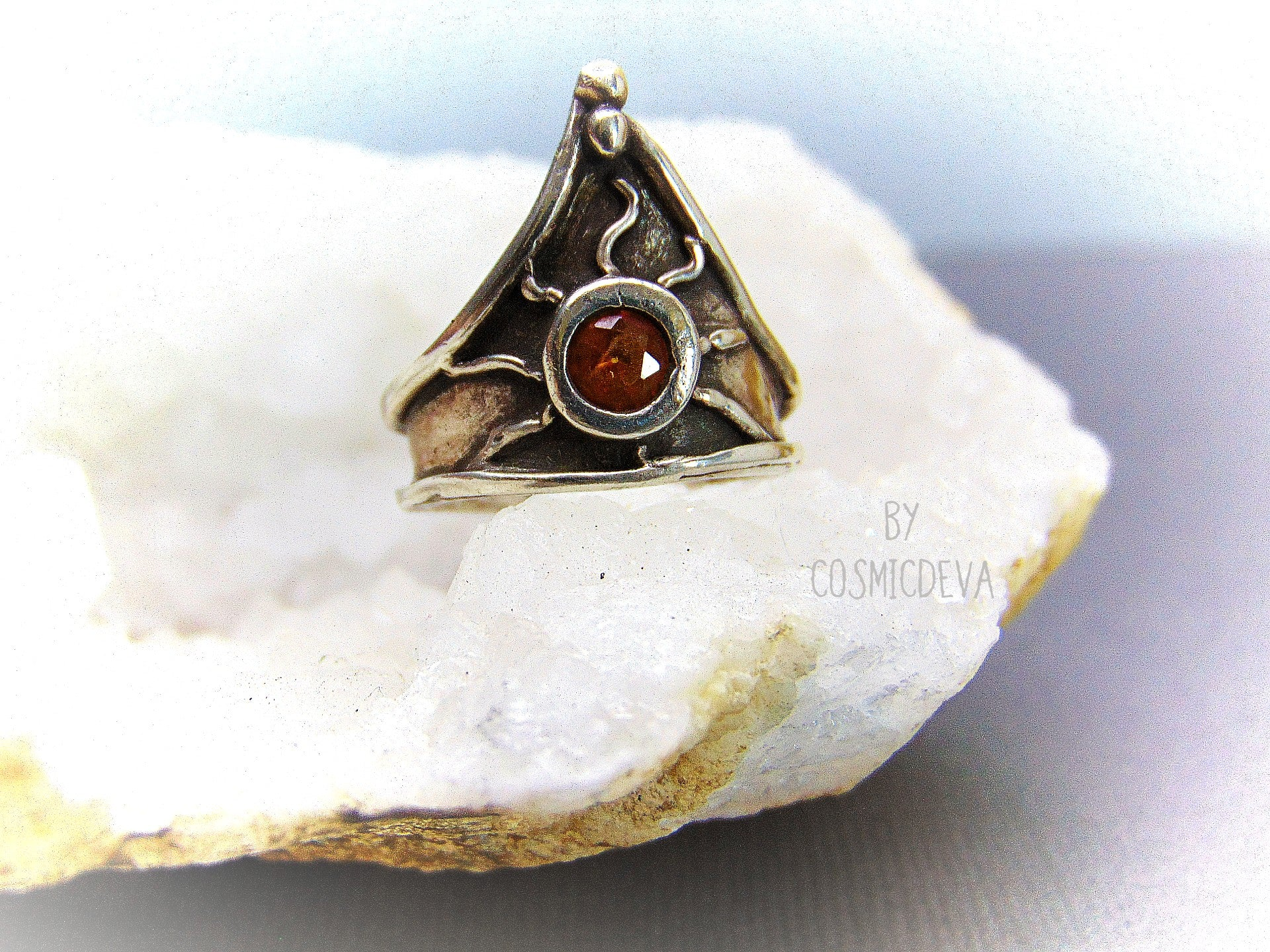 Medieval Triangle Shield Sterling Silver Citrine Size US 7.5 Ring