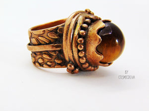 Tigers Eye Gemstone Statement Protection US Size 6.75 -7 Ring - CosmicDeva