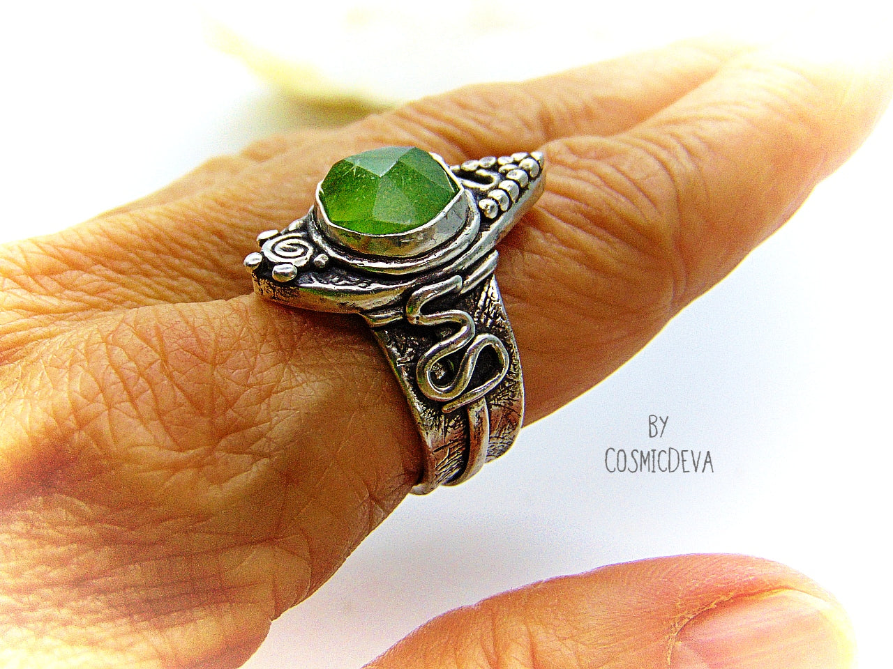 Green Natural Peridot Sterling Silver Boho Statement Ring, US 9.5 Ring - CosmicDeva