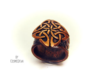 Celtic Knot Copper Ring, Celtic Jewelry, Norse Ring, US SIZE 7 Ring - CosmicDeva