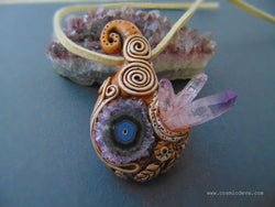 Amethyst Stalactite Slice Clay Art Pendant, Amethyst Crystal Quartz Point Necklace