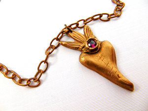 Ex Voto  Sacred Heart Gold Bronze Ruby Heart Necklace - CosmicDeva