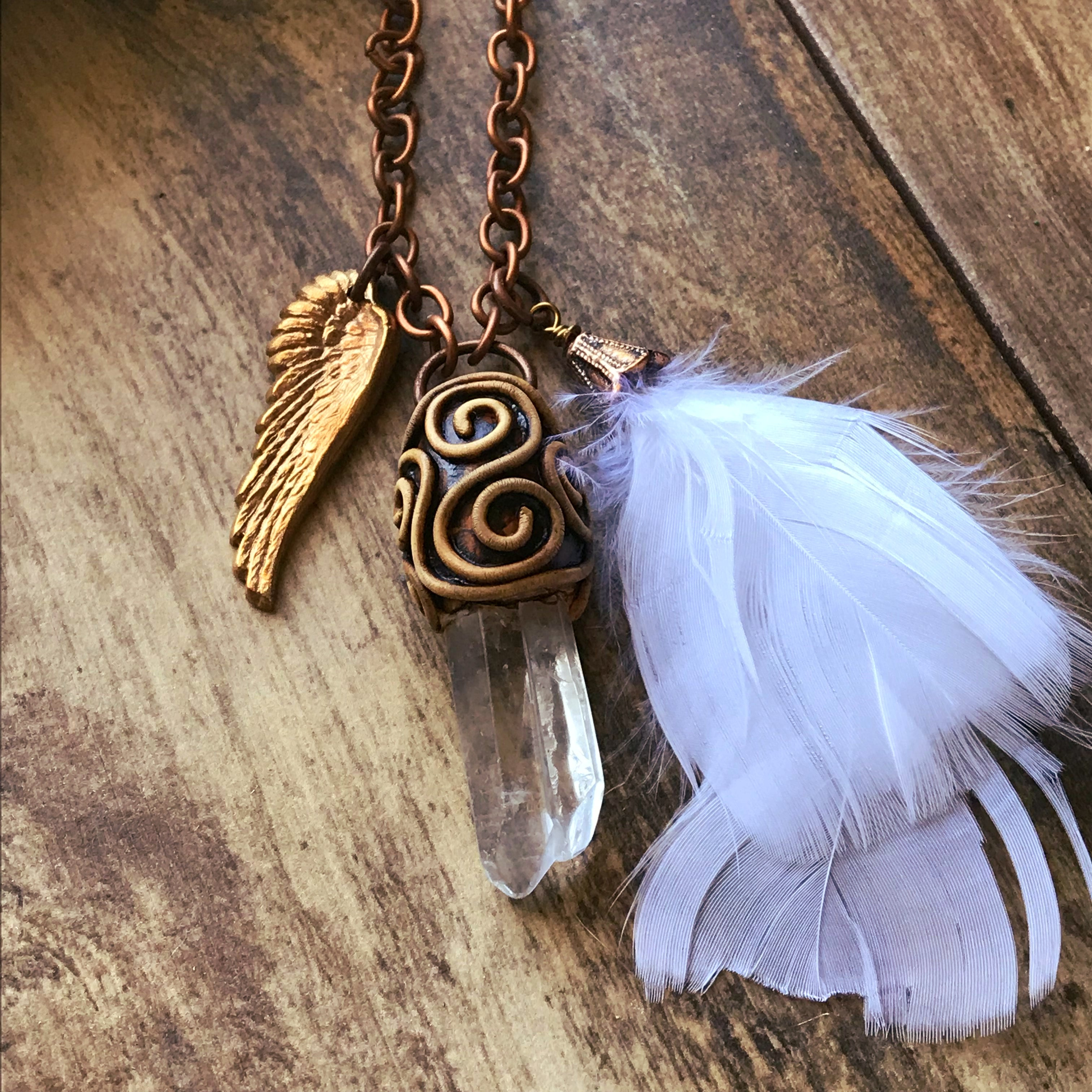 Angel Wing Quartz Crystal Pendant With White Angel Feather - CosmicDeva