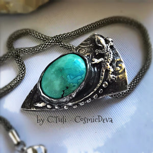 Sterling Silver Lizard Gecko Turquoise Pendant Necklace - CosmicDeva