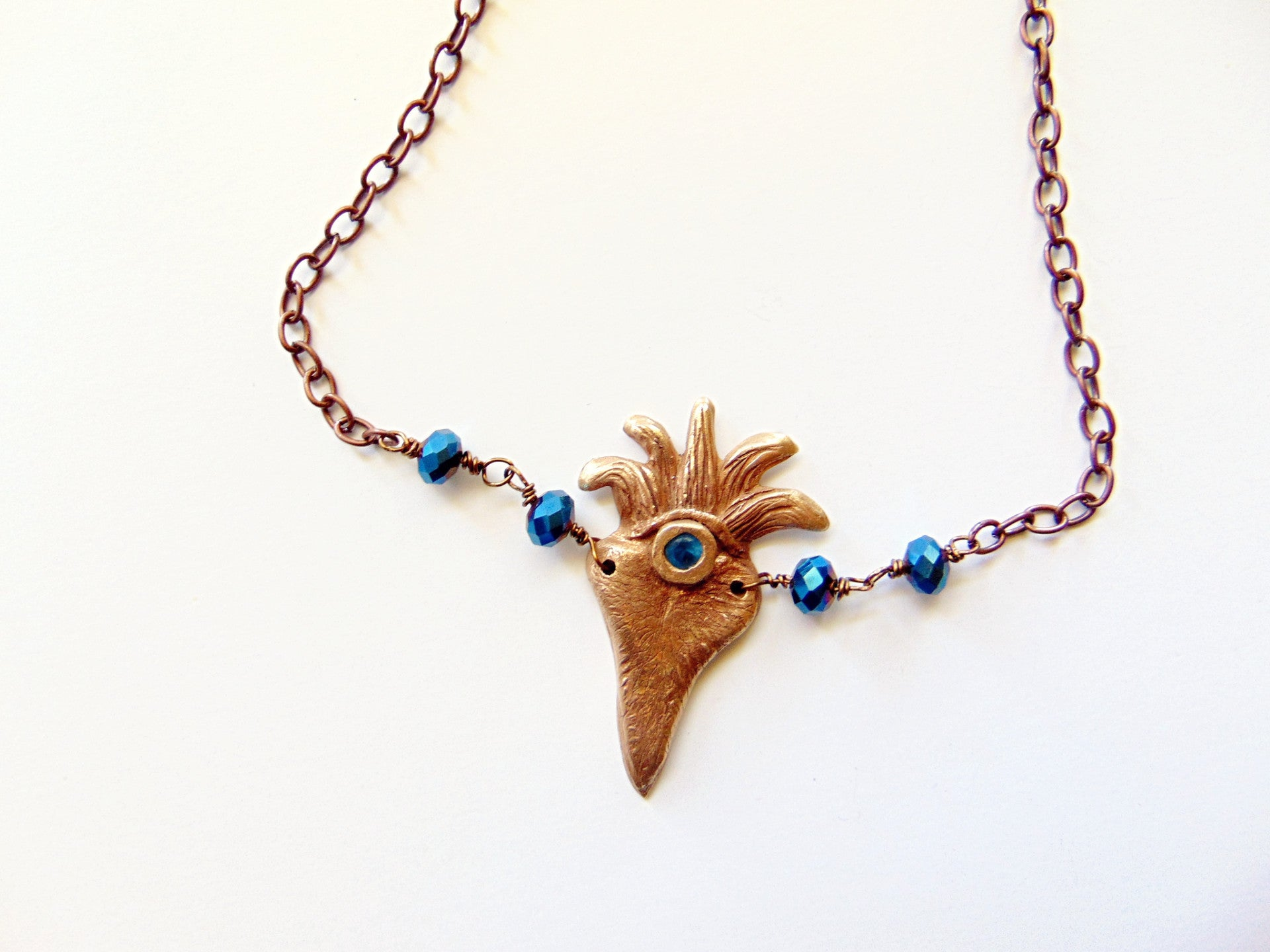 Flaming Heart Bronze Pendant Necklace With Blue Spinel Gemstone - CosmicDeva