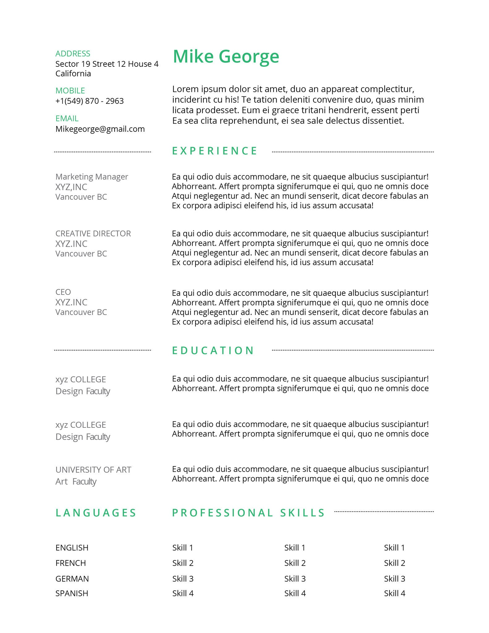 resume 011 resumes experts