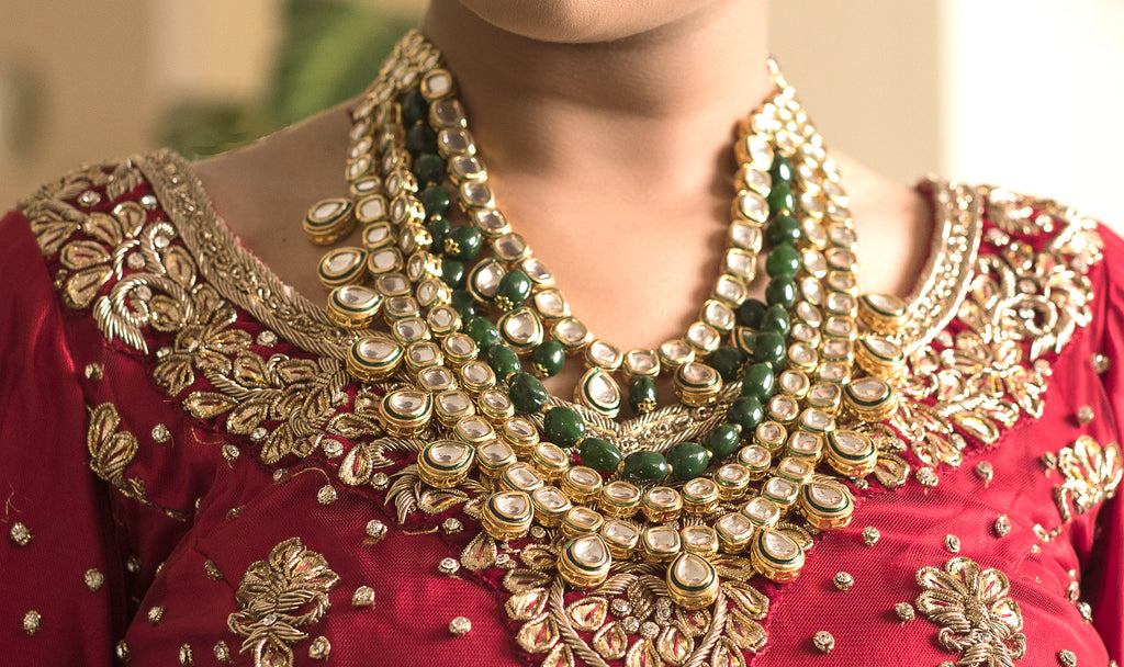 antique indian jewelry. designer kundan Layered set