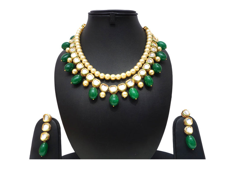fashion women jewelry, kundan necklace with emerald and pearl stones