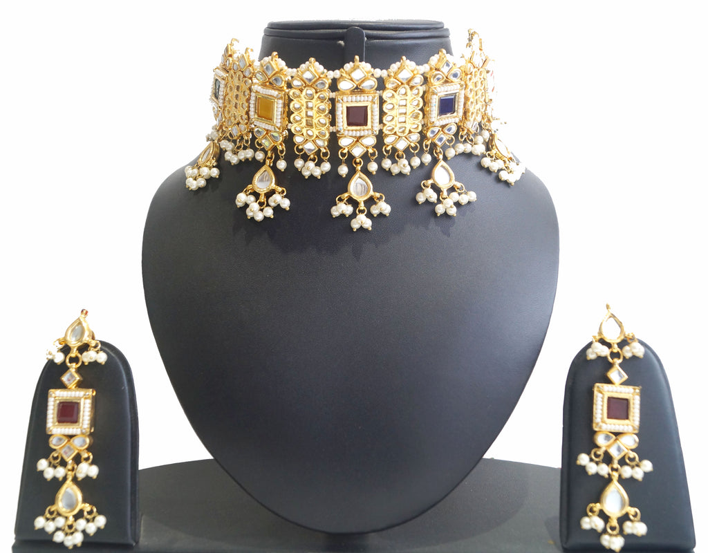 choker necklace set online, navratan kundan choker with pearls