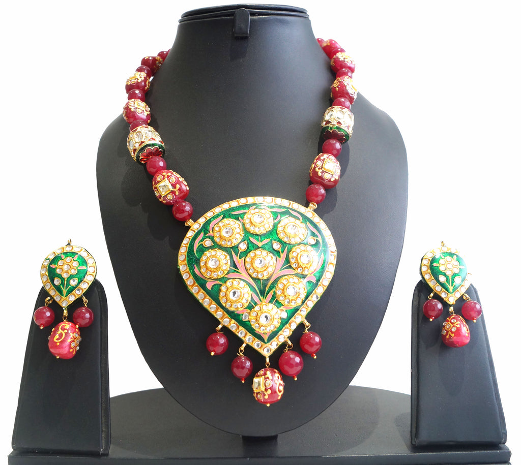 women pendant necklace. Faceted beads infused in mala with meenakari lac pendant