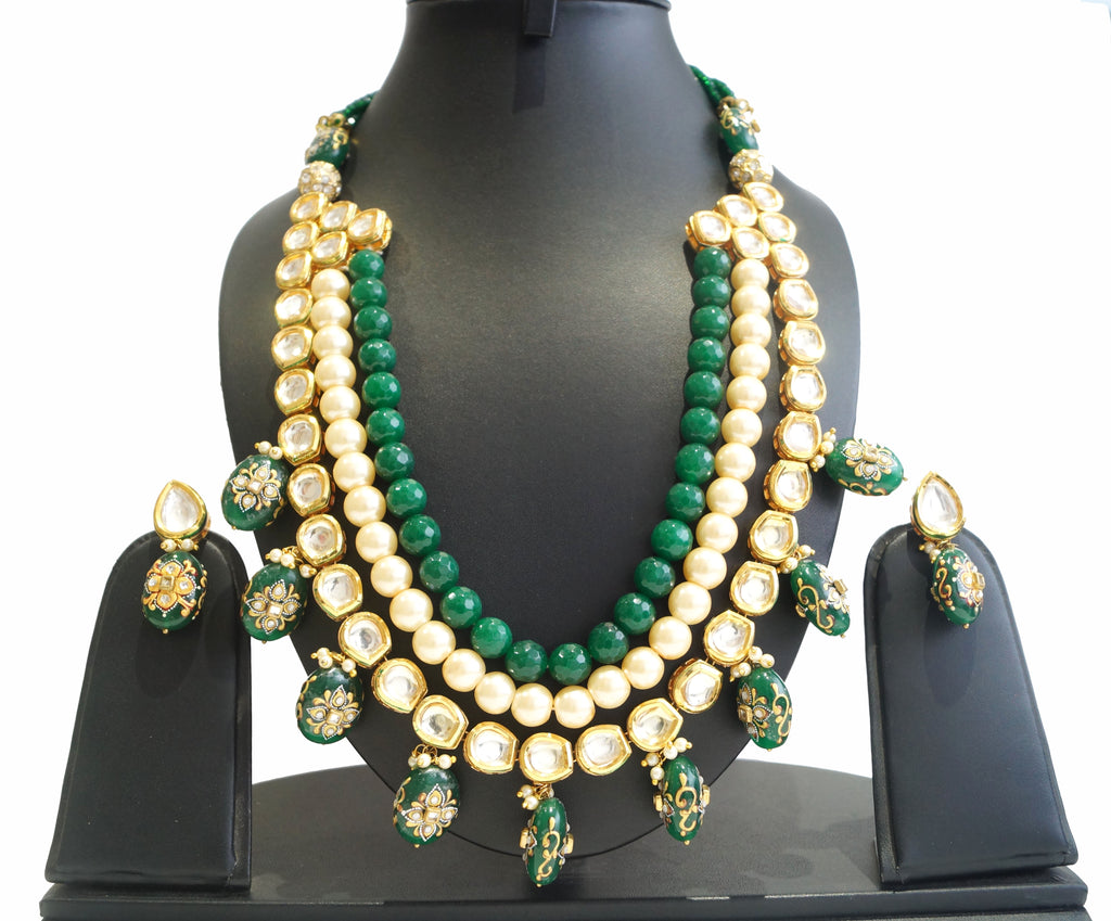 buy fashion jewellery india online, Faceted glass beads, kundan, pearls & agates necklace set