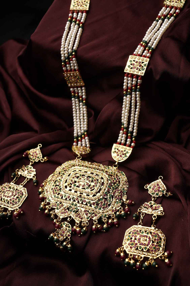 antique indian jewelry, navratan jadau rani set