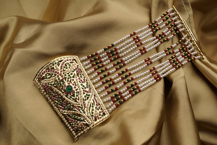 Jadau Traditional Dastband Bracelet