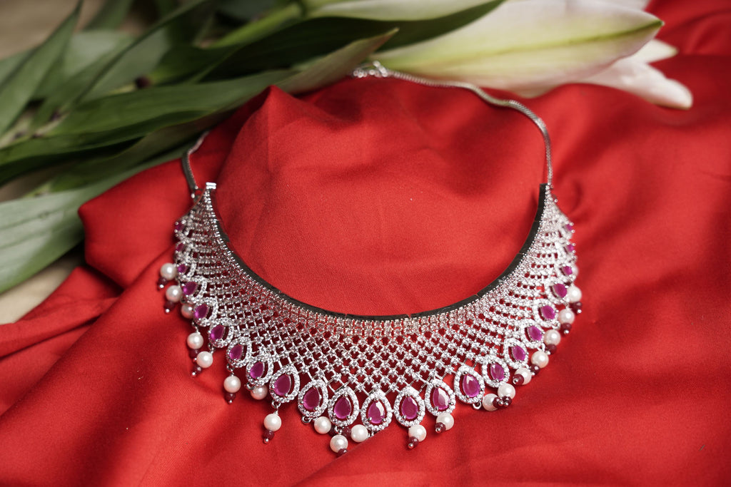 diamond jewellery designs. Designer american diamond choker