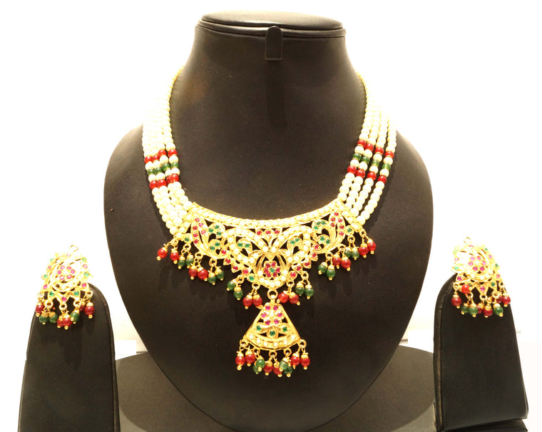 buy fashion jewellery india online, delicate navratan jadau set