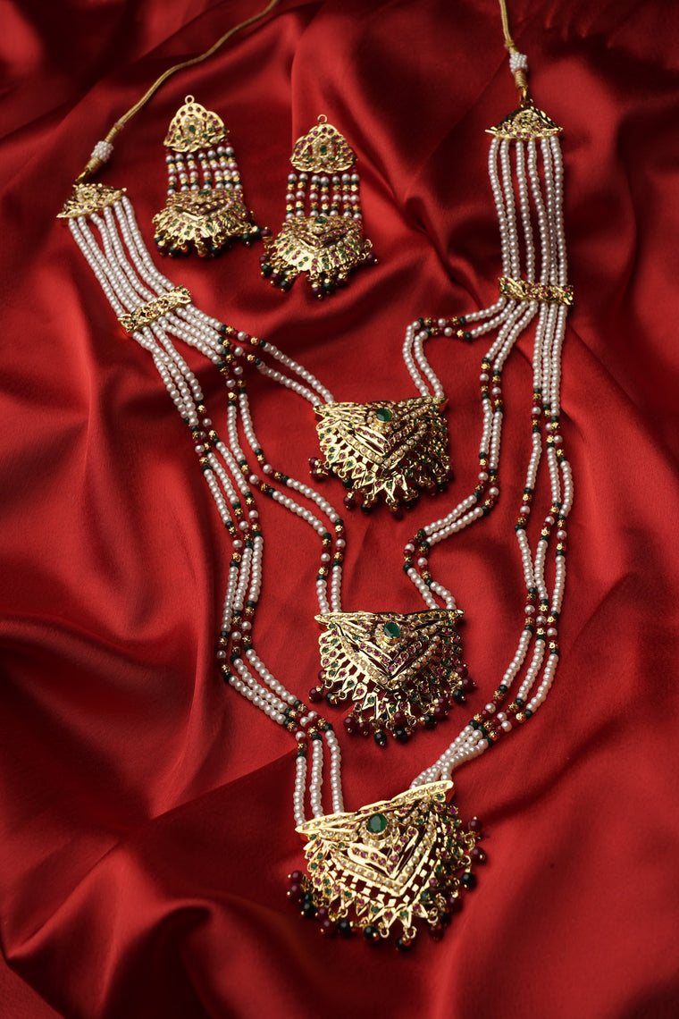 traditional jewellery, navratan jadau 3 lada Rani set