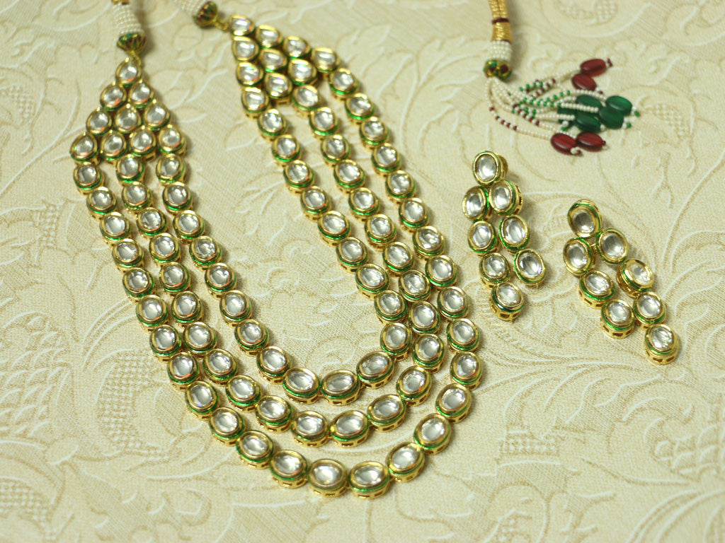 3 layered Kundan necklace set