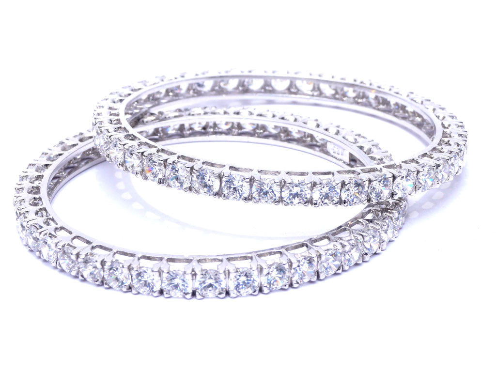 silver bangles for women. Solitaire look