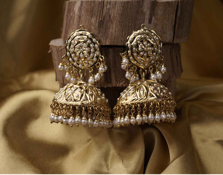 women earrings designs, Jadau Jhumkis