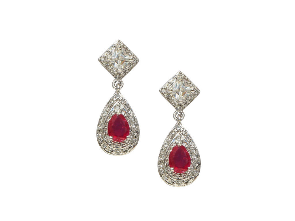 Tear drop earring with Ruby