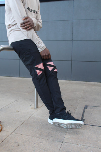 "Black ""PATCH"" Strap Denim"