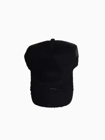 Distressed Blackout Trucker Cap