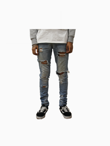 "Cream Blue ""ANNIHILATE"" Distressed Denim"