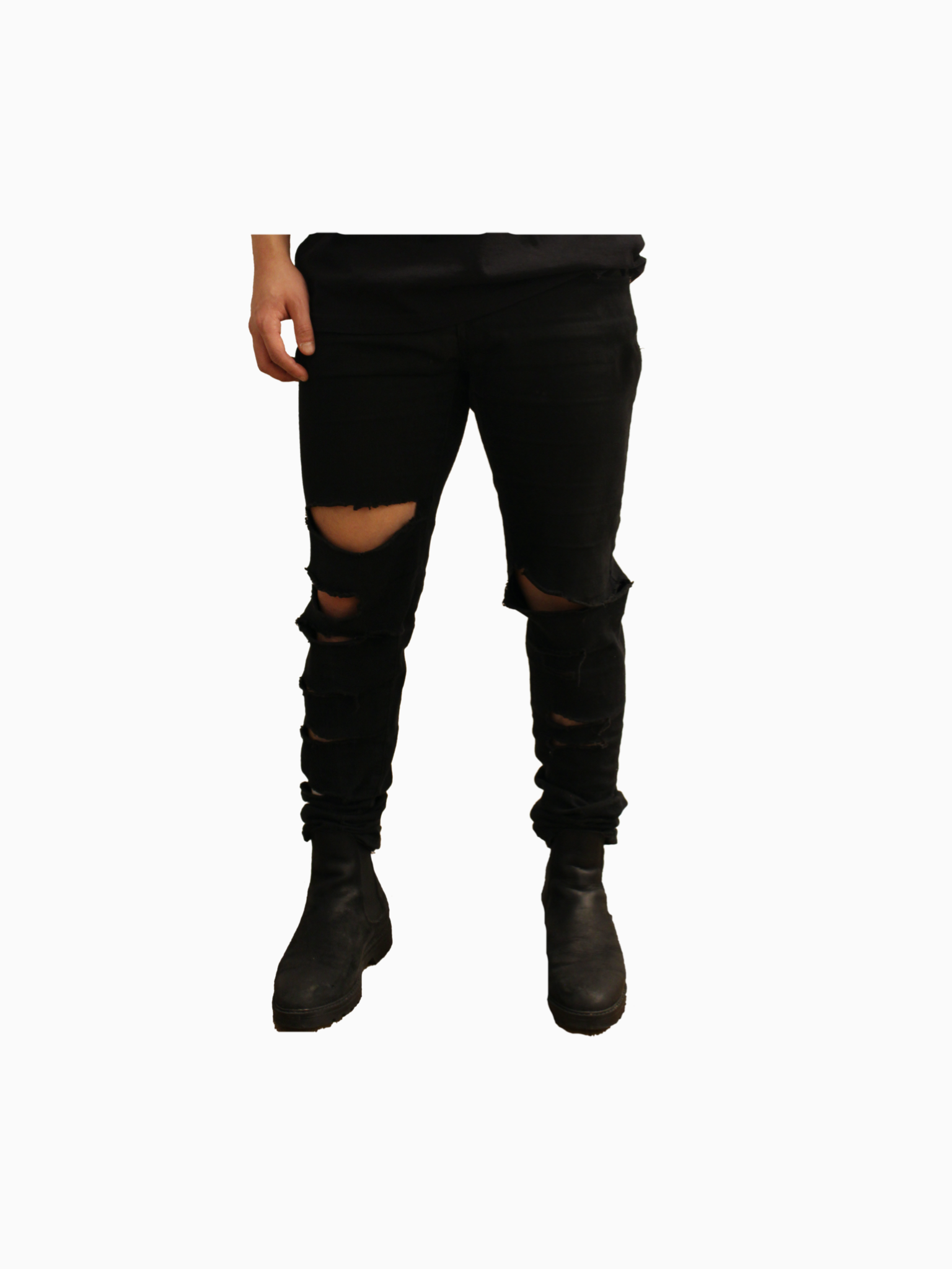 "Black ""ANNIHILATE"" Distressed Denim"