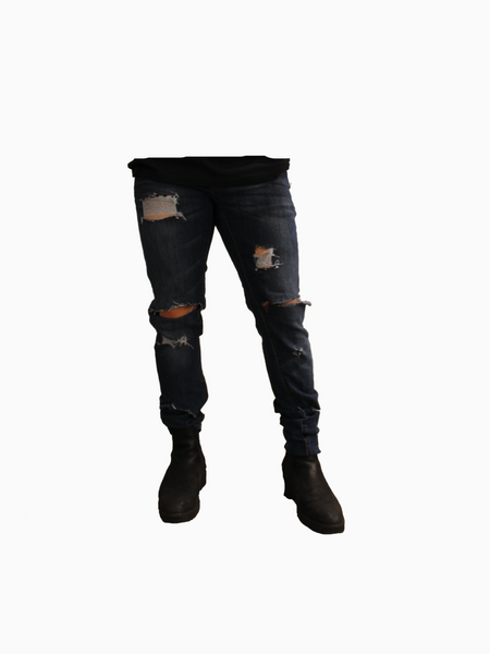 "Deep Blue ""ANNIHILATE"" Distressed Denim"