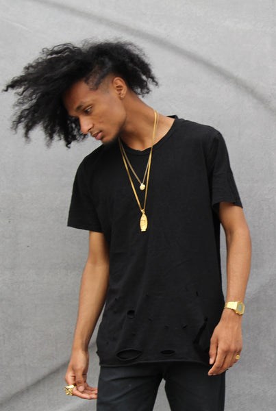 Black Oversized Distressed Tee