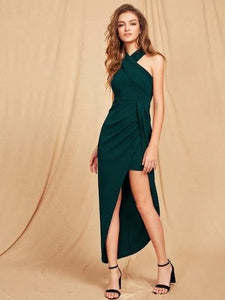 Halter-neck maxi dress