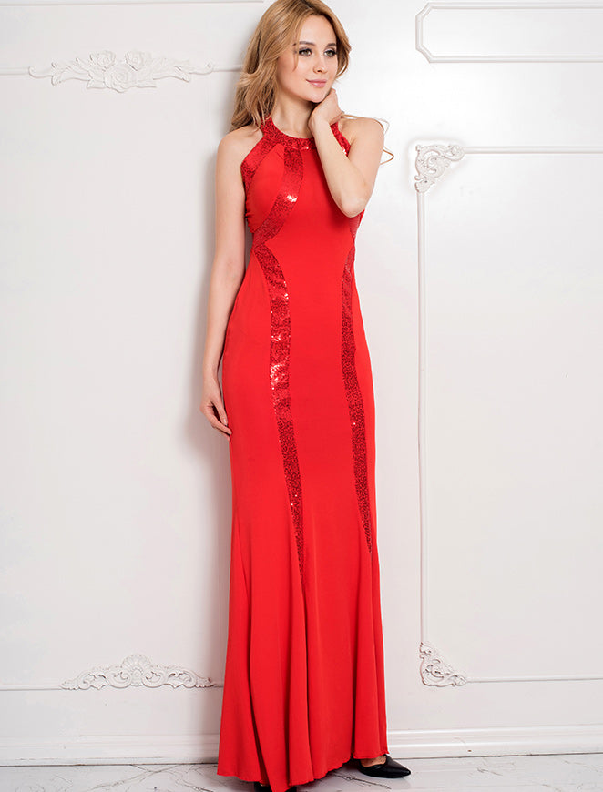 Red Sequined T Cocktail Dress