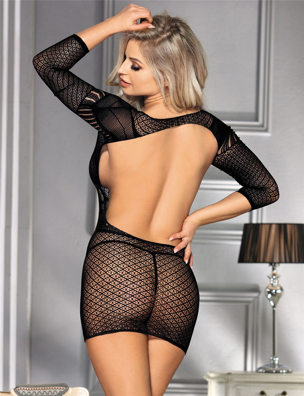 Crochet Mesh Backless Mini Chemise Dress