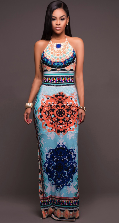 Light Blue Ethnic Halterneck dress