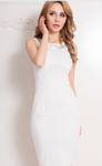 Embroidered White Bodycon Dress