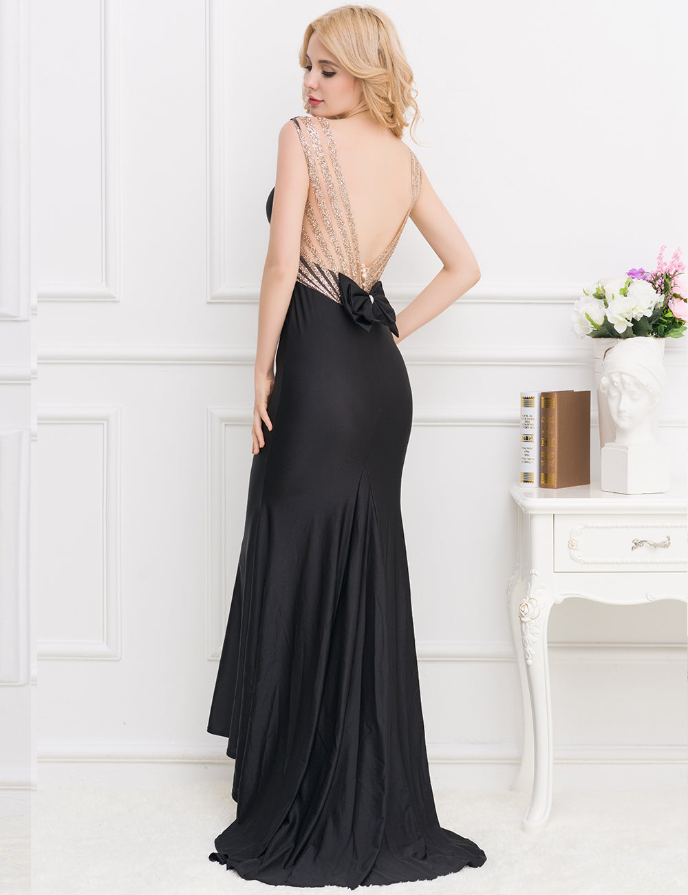 Glitter back bow evening dress
