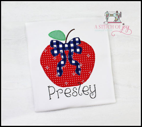 Apple with Gingham Bow